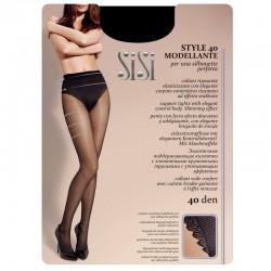 Style 40 den Modellante, Collant elasticizzato con corpino ricamato
