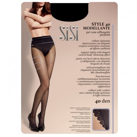 SiSi Style 40 den Modellante, Collant con corpino ricamato