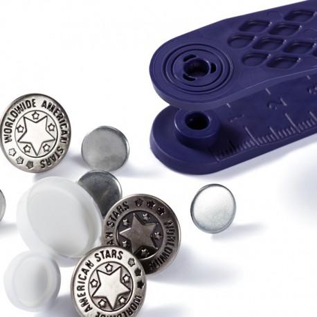Bottoni per Jeans 17 mm ARGENTO ANTICO disegno American star - 622210 Prym