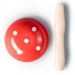 Fungo per rammendo, rosso a pallini in legno