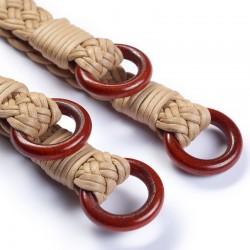 Manici per borse Beige 62cm in cotone con anelli in legno