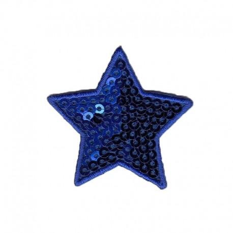 Applicazione Termoadesiva Stella Paillette Blu - Modidea
