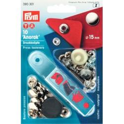 Bottoni automatici a pressione Anorak argento 15 mm