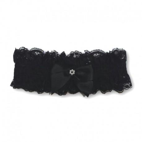 Giarrettiera donna in pizzo nero con fiocco - Calze Trasparenze