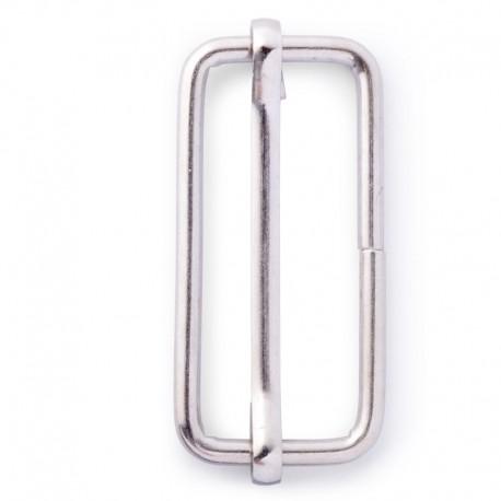 Fibbia con barra regolabile, per cinghie di 35mm, color argento