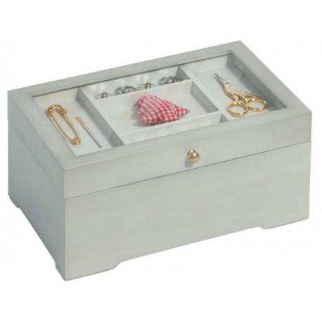 Cassetta portalavoro, legno bianco, in stile antico con vetrinetta - 612532 Prym