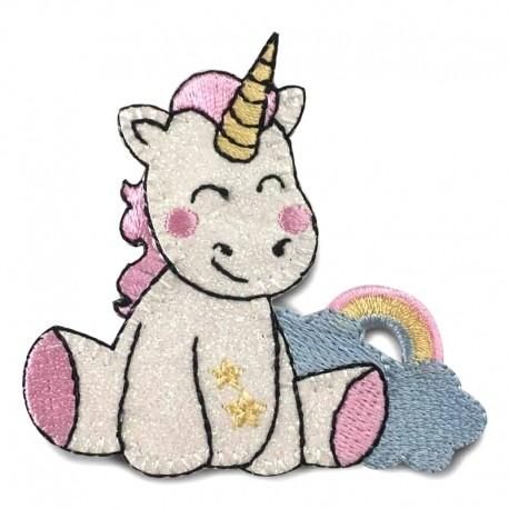 Unicorno con arcobaleno patch glitterata - Modidea