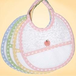 Bavaglino neonato in spugna con laccetti e tela aida da ricamare