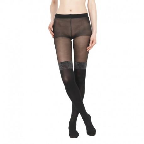 Collant moda a parigina nero con lurex Viviana - Pompea