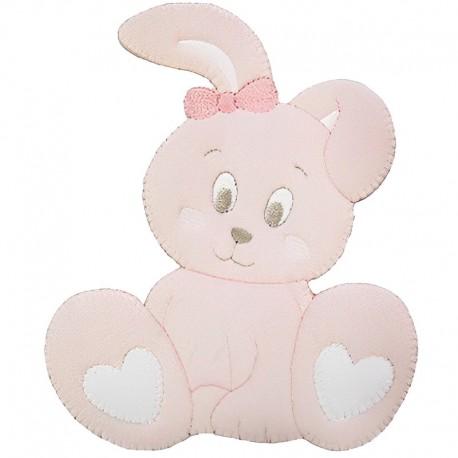 Coniglietto rosa, applicazione Baby ricamata - Marbet