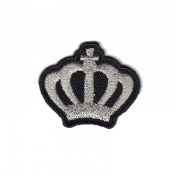 Corona Crown argento lurex patch ricamata