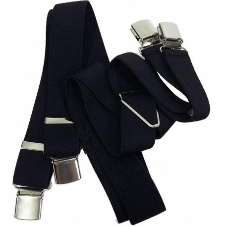 Bretelle straccali da Uomo con chiusura a clip francese - Nero 35 mm - lunghezza 120 cm - SPB Bretelle