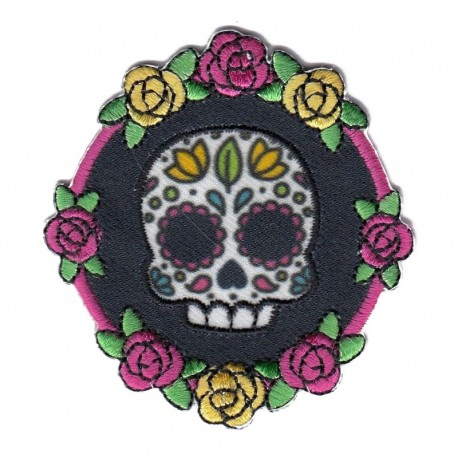 Teschio messicano blu Dia de Los Muertos applicazione patch ricamata termoadesiva Marbet