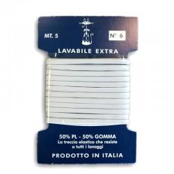 Nastro elastico trecciato da 3mm lavabile N°06 BIANCO - Farfalla da 5m.