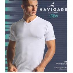 T-Shirt Manica Corta con scollo a V in cotone pettinato Navigare