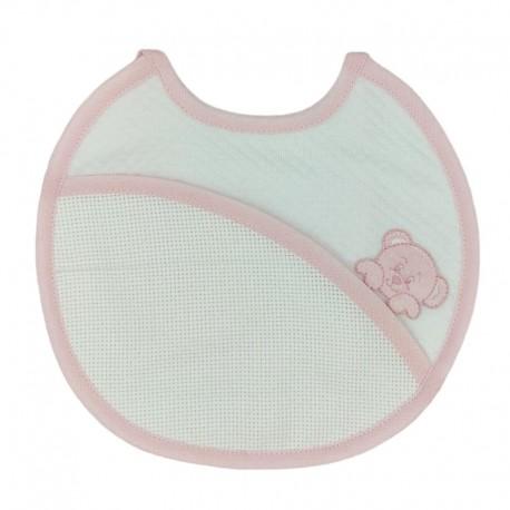 Bavaglino neonato in spugna con laccetti al collo, applicazione centrale e tela Aida da ricamare - BM Ricami