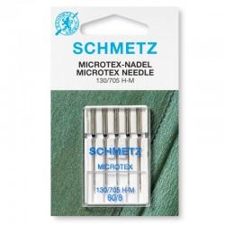 Aghi Microtex N° 60 con testa piatta per macchina da cucire