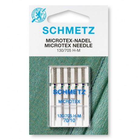 Aghi Microtex N° 70 con testa piatta per macchina da cucire - 0706463 Schmetz