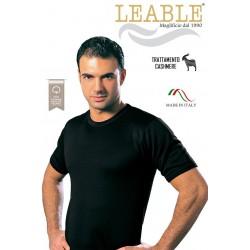 T-Shirt Nera Manica Corta girocollo in Cotone Felpato LEABLE