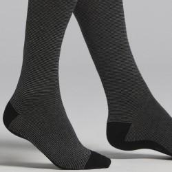 Calza lunga uomo in caldo cotone nero e grigio fantasia millerighe