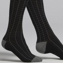 Calza lunga uomo in caldo cotone nero e grigio fantasia rettangolo