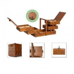 Scatola cucito vintage cassetta portalavoro in legno scuro - 612549 Prym