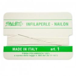 Infilaperle in Nylon con ago integrato misura 1 diametro 0,3mm