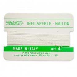 Infilaperle in Nylon con ago integrato misura 4 diametro 0,6mm