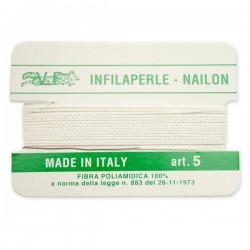 Infilaperle in Nylon con ago integrato misura 5 diametro 0,7mm