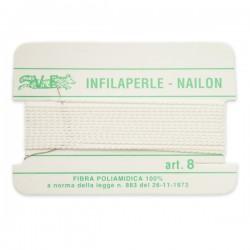 Infilaperle in Nylon con ago integrato misura 8 diametro 1mm