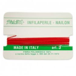 Infilaperle in Nylon con ago integrato misura 3 diametro 0,5mm