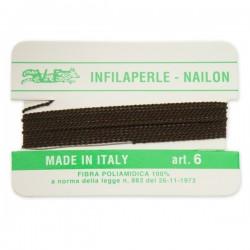 Infilaperle in Nylon con ago integrato misura 6 diametro 0,8mm