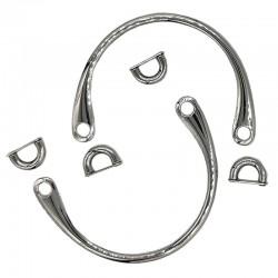 Manici per borse in metallo argentato completi di ponticelli