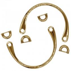Manici per borse in metallo dorato completi di ponticelli