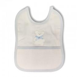 Bavaglino neonato in cotone con orsetto e tela Aida da ricamare