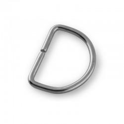 Fibbia a mezzaluna, anello semicircolare 35 mm argento