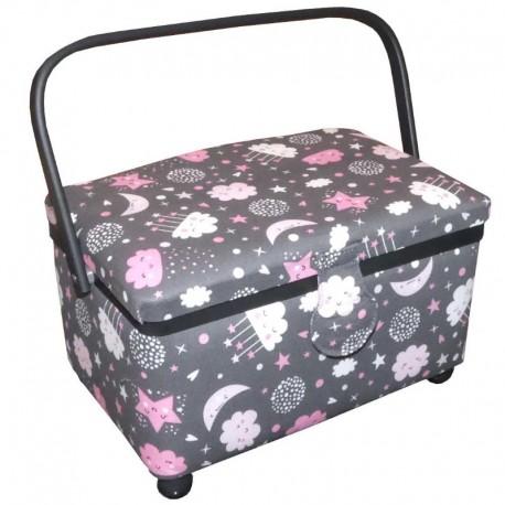 Cestino scatola da cucito portalavoro con manico e stampa con lune, stelle e nuvole - BM Ricami