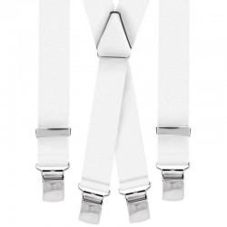 Bretelle straccali da Uomo - Bianco 25 mm - lunghezza 120 cm