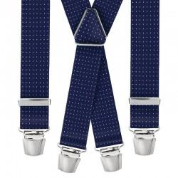 Bretelle straccali da Uomo - Blu fantasia Pois - 35 mm - lunghezza 120 cm