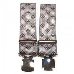 Bretelle straccali da Uomo - Fantasia geometrica grigio - 35 mm - lunghezza 120 cm
