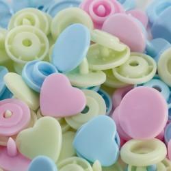 Bottoni a pressione Color Snaps a forma di Cuore rosa celeste verde Prym Love