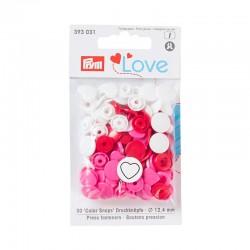 Bottoni a pressione Color Snaps a forma di Cuore rosso bianco fuxia Prym Love