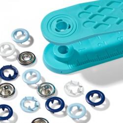 Bottoni automatici a pressione Prym Love jersey snaps 8mm - celeste blu bianco